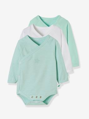 Vertbaudet Sale-Baby-Pack of 3 Progressive Bodysuits for Newborns in Stretch Cotton, Long Sleeves