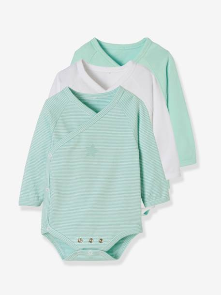 Pack of 3 Progressive Bodysuits for Newborns in Stretch Cotton, Long Sleeves BLUE LIGHT TWO COLOR/MULTICOL+PINK LIGHT 2 COLOR/MULTICOL R - vertbaudet enfant
