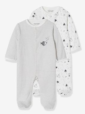 Baby-Pack of 2 Baby Sleepsuits in Double-Sided Cotton, Fish Motif