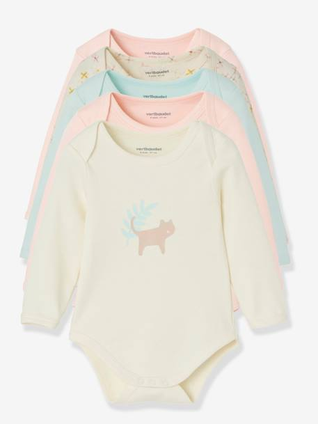 Lot de 5 bodies pur coton bébé manches longues LOT PERLE+LOT ROSE PALE - vertbaudet enfant
