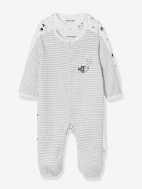 Vertbaudet Collection-Baby-Pack of 2 Baby Sleepsuits in Double-Sided Cotton, Fish Motif
