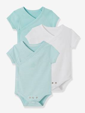 Baby-Bodysuits & Sleepsuits-Pack of 3 Progressive Bodysuits for Newborns in Stretch Cotton, Short Sleeves