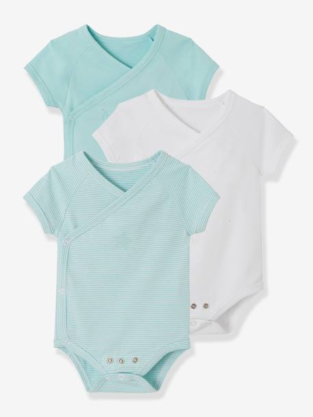 Pack of 3 Progressive Bodysuits for Newborns in Stretch Cotton, Short Sleeves BLUE LIGHT TWO COLOR/MULTICOL+PINK LIGHT 2 COLOR/MULTICOL R - vertbaudet enfant