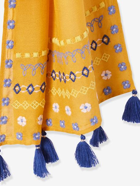 Long Scarf with Tassels for Girls BLUE DARK SOLID WITH DESIGN+ORANGE MEDIUM SOLID WITH DESIG+PINK LIGHT SOLID WITH DESIGN - vertbaudet enfant