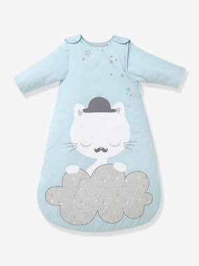 Bedding & Decor-Baby Sleep Bag with Detachable Sleeves, Cat Theme