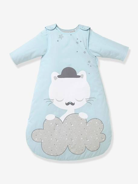 Baby Sleep Bag with Detachable Sleeves, Cat Theme Blue - vertbaudet enfant