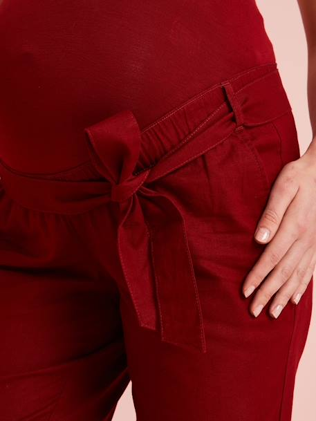Paperbag Maternity Trousers RED DARK SOLID - vertbaudet enfant