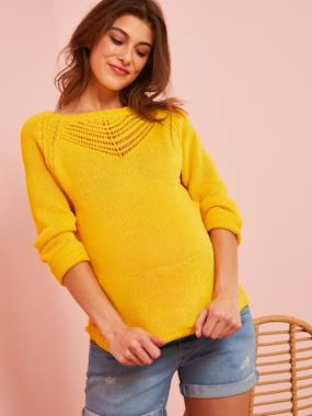 Maternity-Maternity Pullover in Openwork Knit