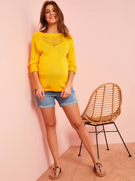 Maternity Pullover in Openwork Knit RED BRIGHT SOLID+YELLOW BRIGHT SOLID - vertbaudet enfant