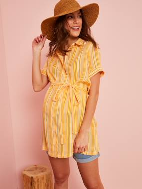 Maternity-Dresses-Striped Maternity Shirt Dress