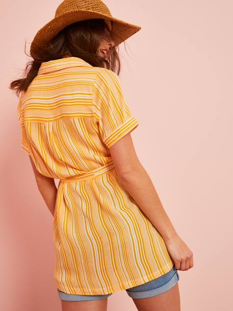 Striped Maternity Shirt Dress YELLOW MEDIUM ALL OVER PRINTED - vertbaudet enfant