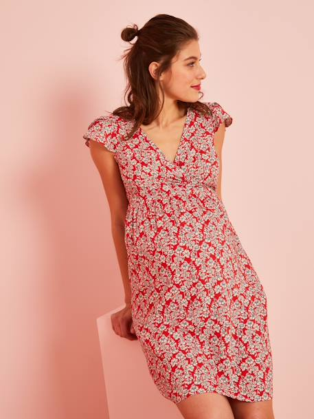 Wrapover Maternity Dress, Printed RED MEDIUM ALL OVER PRINTED - vertbaudet enfant