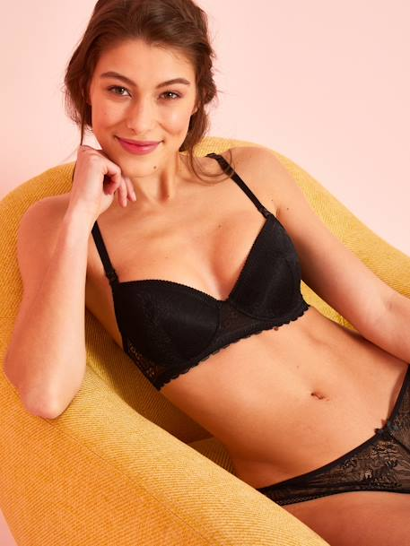 Nursing Bra with Lace at the Front & Back BLACK DARK SOLID+RED DARK SOLID+WHITE LIGHT SOLID - vertbaudet enfant