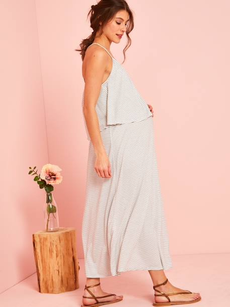 Striped Maternity Dress with Stylish Flaps WHITE MEDIUM STRIPED - vertbaudet enfant
