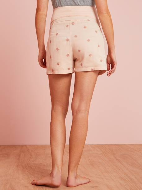 Printed Maternity Loungewear Shorts PINK LIGHT SOLID WITH DESIGN - vertbaudet enfant