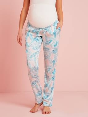 Vertbaudet Sale-Maternity-Satin Maternity Trousers, Exotic Print