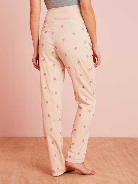 Loungewear Maternity Trousers PINK LIGHT SOLID WITH DESIGN - vertbaudet enfant