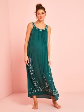 Maternity-Dresses-Long Maternity Dress, Embroidered Crepon