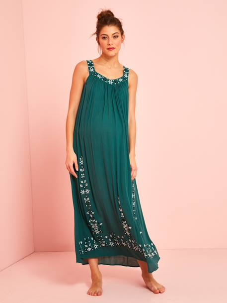 Long Maternity Dress, Embroidered Crepon GREEN MEDIUM SOLID - vertbaudet enfant