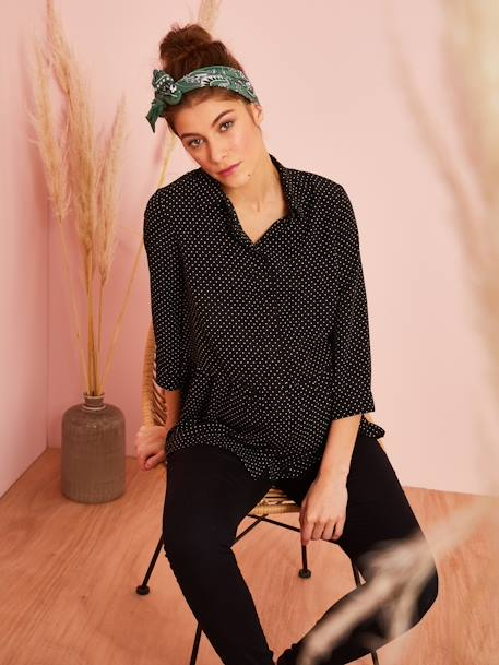 Dotted Maternity Blouse BLACK DARK ALL OVER PRINTED - vertbaudet enfant