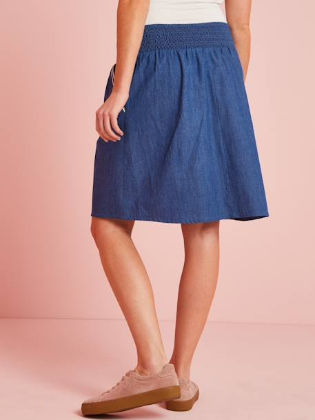 Maternity Skirt in Light Denim BLUE DARK SOLID - vertbaudet enfant