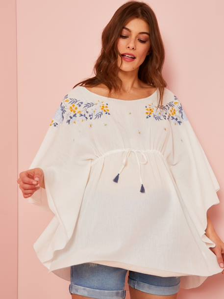Embroidered Beach Tunic for Maternity WHITE LIGHT SOLID WITH DESIGN - vertbaudet enfant