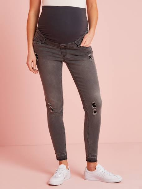 Maternity Washed Skinny Jeans, Ankle Length BLUE DARK WASCHED+GREY DARK WASCHED - vertbaudet enfant