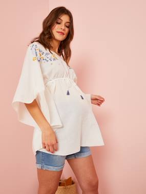 Maternity-Blouses, Shirts & Tunics-Embroidered Beach Tunic for Maternity