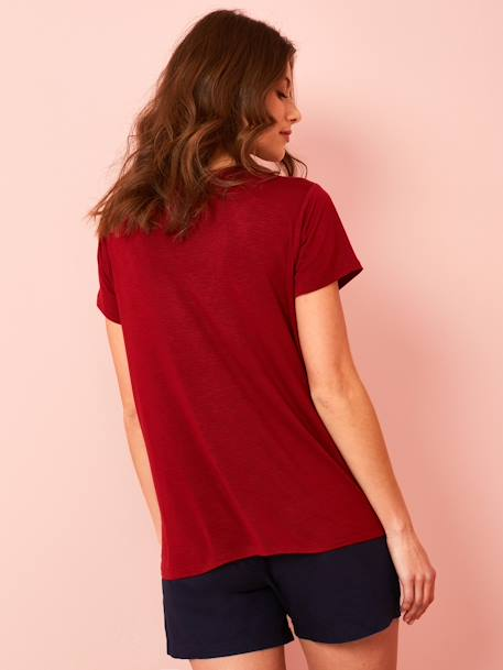 Ethnic Short-Sleeved T-shirt for Maternity BLACK DARK SOLID+RED DARK SOLID+WHITE LIGHT SOLID - vertbaudet enfant