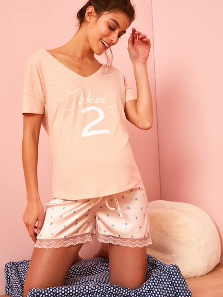 Maternity T-Shirt in Marl Jersey Knit Fabric PINK LIGHT SOLID WITH DESIGN+WHITE LIGHT SOLID WITH DESIGN - vertbaudet enfant