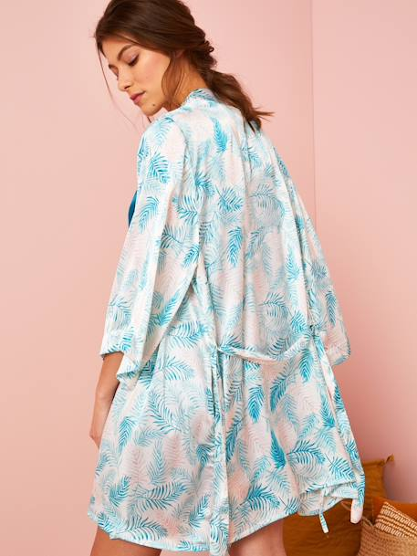 Maternity Loungewear Satin Kimono, Exotic Motif GREEN MEDIUM ALL OVER PRINTED - vertbaudet enfant