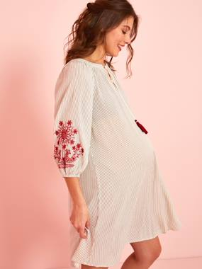Maternity-Dresses-Embroidered Striped Dress, Ethnic Style, for Maternity