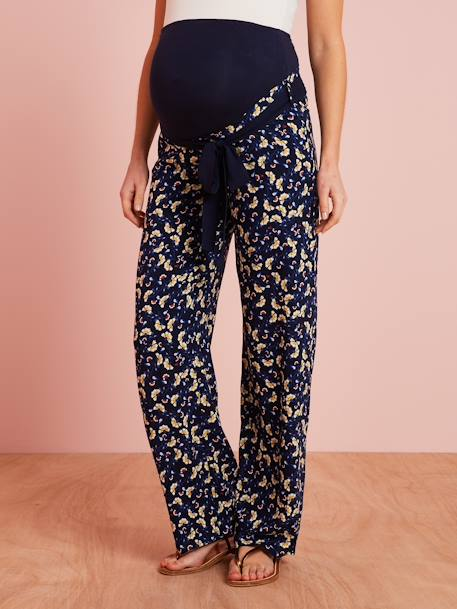 Maternity Trousers in Printed Viscose BLUE DARK ALL OVER PRINTED - vertbaudet enfant