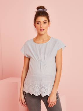 Maternity-Blouses, Shirts & Tunics-Striped Maternity Blouse in Broderie Anglaise