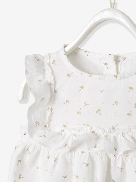 Blouse with Frill for Baby Girls WHITE LIGHT ALL OVER PRINTED+WHITE MEDIUM ALL OVER PRINTED - vertbaudet enfant