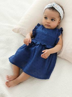 Baby-Dresses & Skirts-Dress + Headband Ensemble for Baby Girls