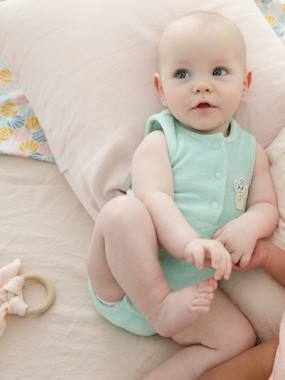 Baby-Dungarees & All-in-ones-Playsuit in Terry Cloth for Baby Boys