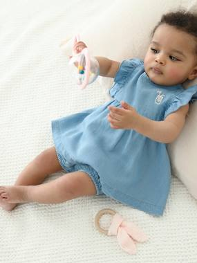 Baby-Dresses & Skirts-Dress + Shorts Outfit in Light Denim, for Baby Girls