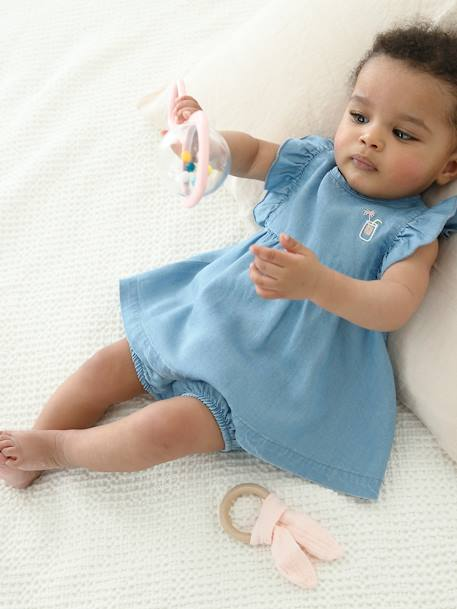 Dress + Shorts Outfit in Light Denim, for Baby Girls BLUE LIGHT WASCHED - vertbaudet enfant