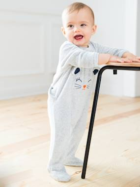 Baby-Pyjamas-Babies' Velour Pyjamas, Press-studs on the Back
