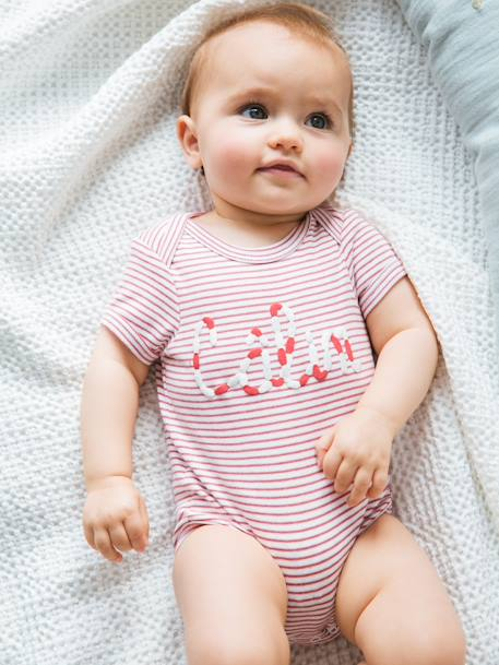 Short-Sleeved Bodysuit with 'Câlin' Motif for Babies, Pure Cotton PINK DARK STRIPED - vertbaudet enfant