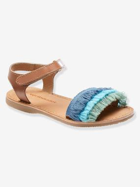 Sandals-Leather Sandals with Tricoloured Fringes for Girls