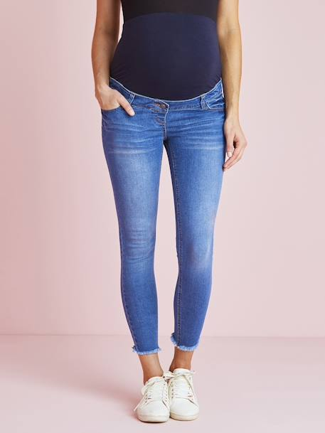 7/8 Maternity Slim Fit Jeans with Tears BLUE BRIGHT SOLID+WHITE LIGHT SOLID - vertbaudet enfant