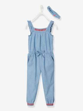 Girls-Dungarees & Playsuits-Light Denim Jumpsuit with Ruffles for Girls, Matching Headband