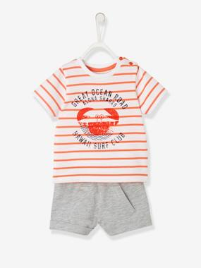 Bonnes affaires-Baby-Baby Boys' Striped Top & Shorts Outfit, Shark Motif