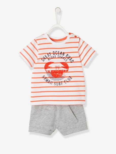 Baby Boys' Striped Top & Shorts Outfit, Shark Motif - orange medium  striped, Baby