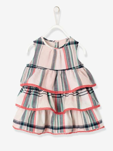 Dress with Madras Checks & Frills, for Baby Girls PINK LIGHT CHECKS - vertbaudet enfant