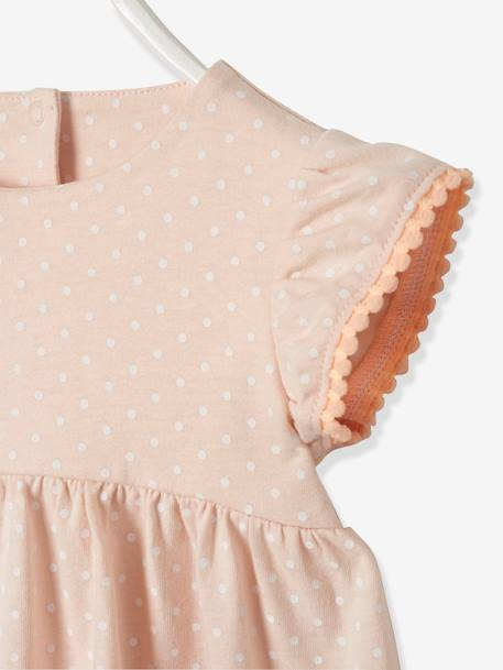 Dress with Ruffles on the Sleeves, for Baby Girls PINK LIGHT ALL OVER PRINTED+WHITE LIGHT STRIPED - vertbaudet enfant
