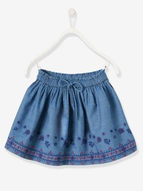 Vertbaudet Sale-Girls-Embroidered Skirt in Lightweight Denim for Girls