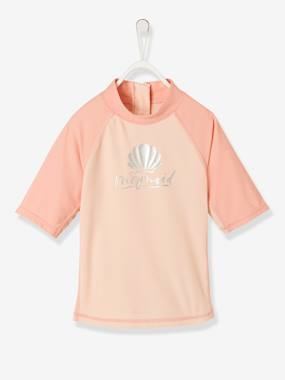 Swimwear-UV Protection Swim T-Shirt, Shell Motif, for Girls
